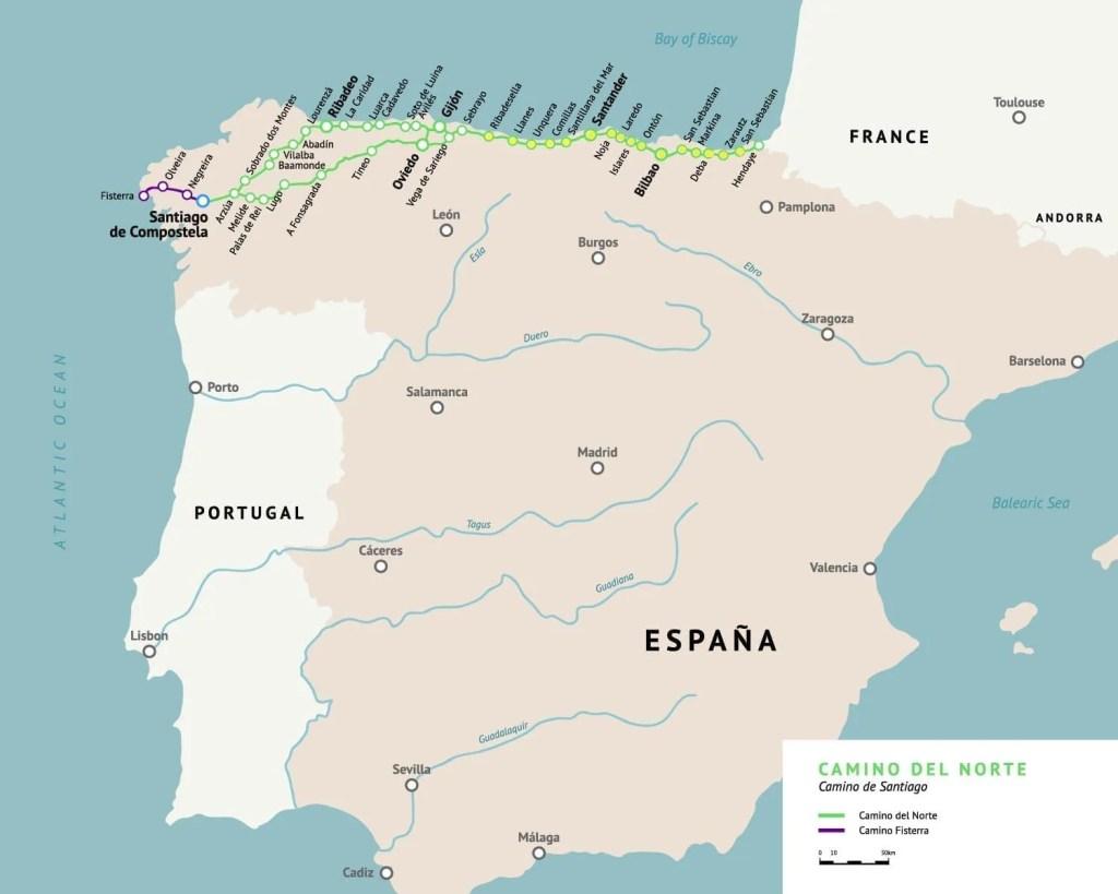 Map on the Camino del Norte