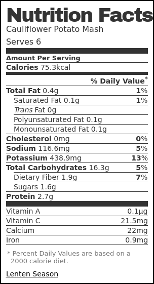 Nutrition label for Cauliflower Potato Mash