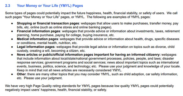 General Guidelines YMYL