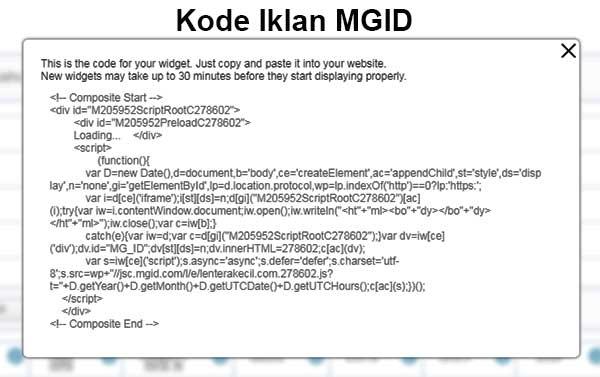 Memasang Kode Script Iklan MGID di Blogspot