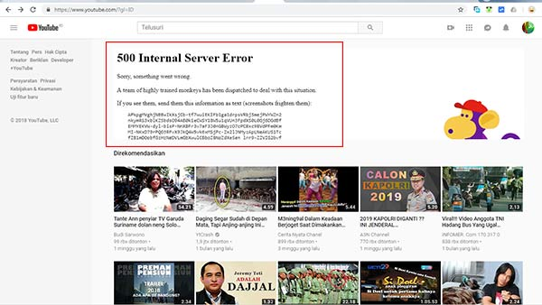 YouTube: Error 500 Internal Server