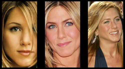Jennifer Aniston com lentes de contato