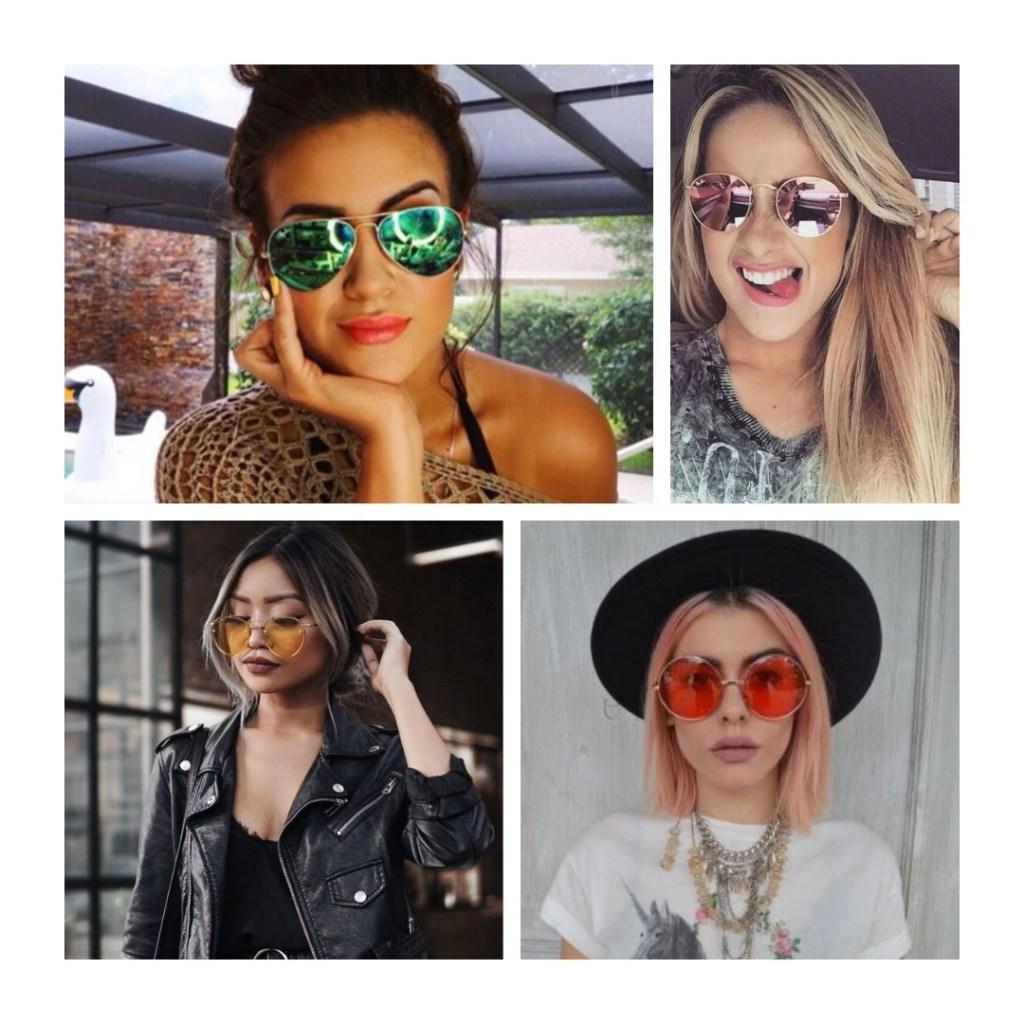 oculos com lentes coloridas