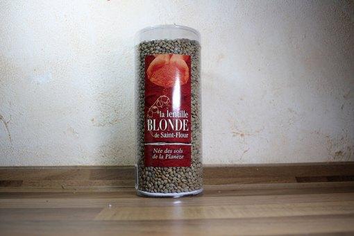 Lentille blonde de Saint-Flour : paquet en tube PVC de 500 grammes