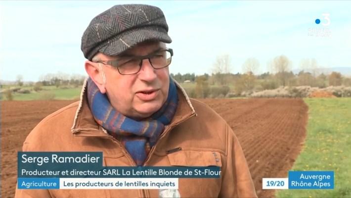 Les producteurs de lentille s'inquiètent (19/20 France 3 Auvergne Rhône Alpes)