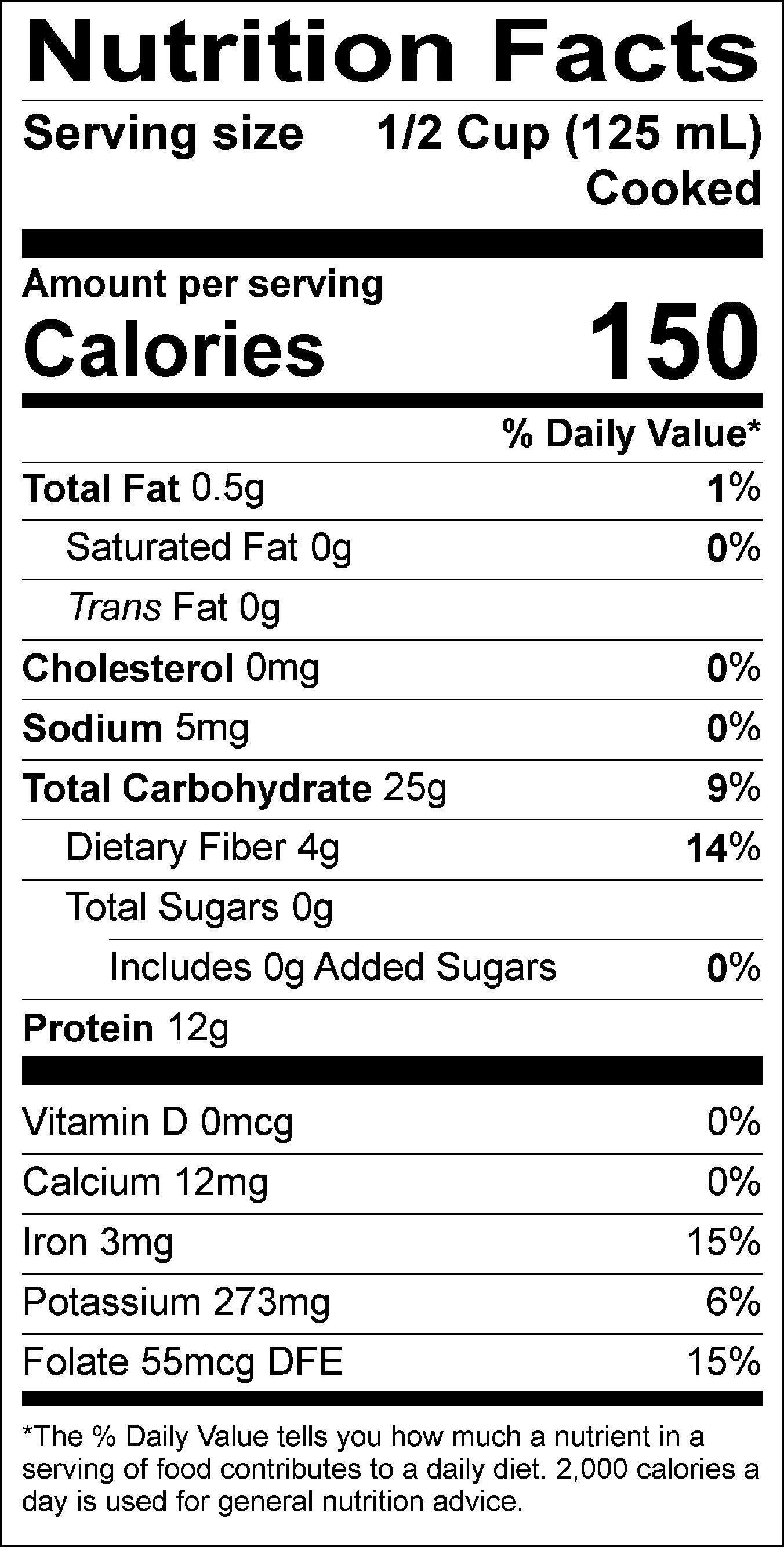 Kidney Beans Food Label