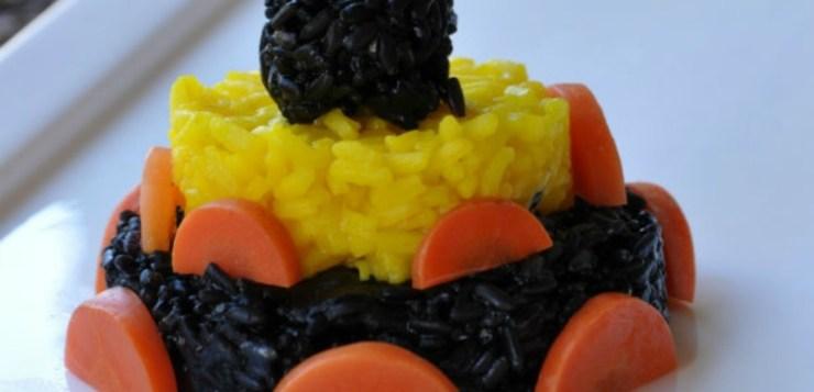 Tortino di riso venere e seppia