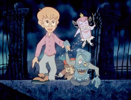 THE PAGEMASTER, Macaulay Culkin as Richard Tyler, Patrick Stewart as Adventure (hook), Frank Welker as Horror, Whoopi Goldberg as Fantasy (top), 1994. © 20th Century Fox Film Corp..
