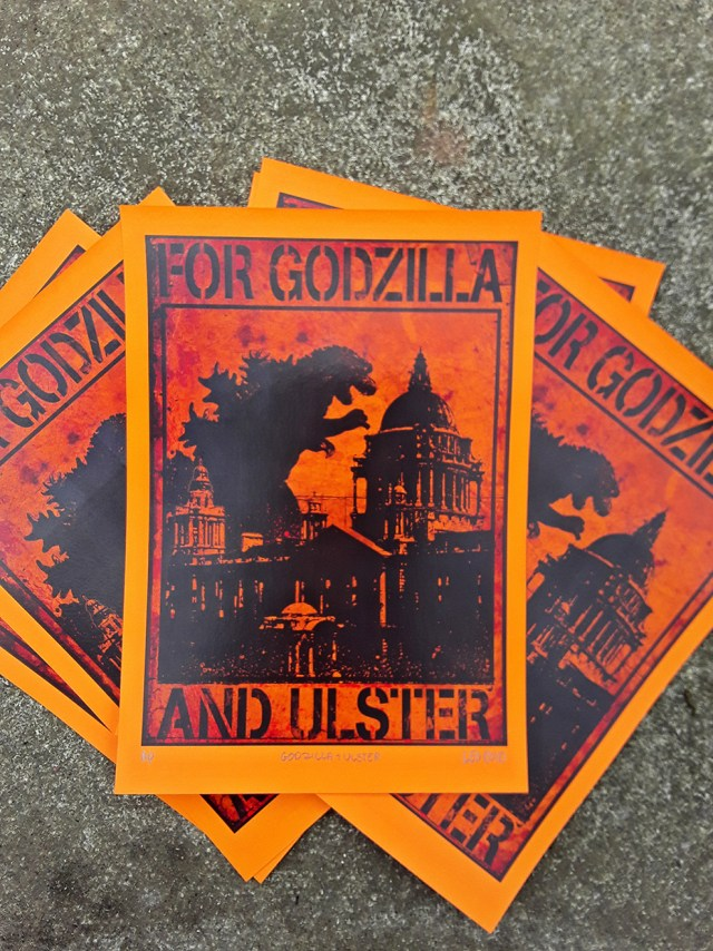 Close up of For Godzilla and Ulster