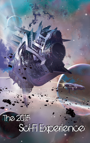 Banner for the 2015 Sci-Fi Experience hosted by 'Stainless Steel Droppings', art by Stephan Martiniere.