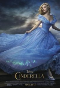 Cinderella (2015). A young woman in a bright blue dress running away from something.