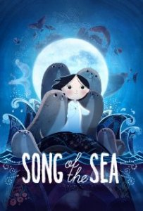 The Song of the Sea, a small, black-hiared child surrounded by selkies and framed by the moon and the waves.