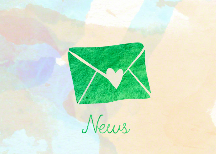 News. The text 'news' underneath a big envelope. News and updates on the site.