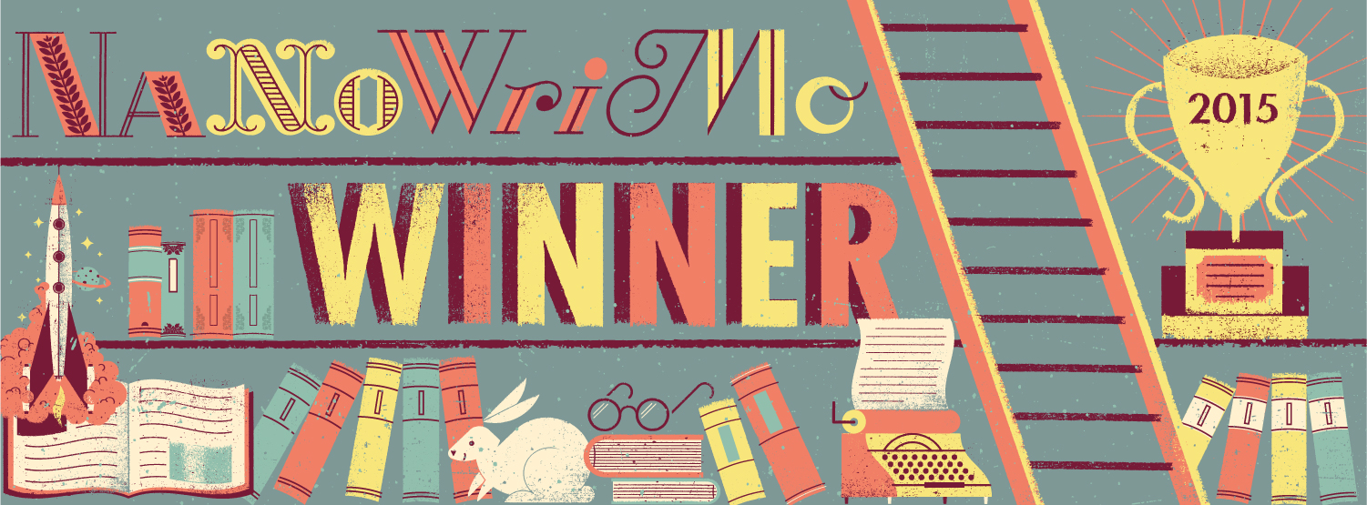 NaNoWriMo 2015 Winner! Several shelves. The text 'NaNoWriMo Winner 2015' is stacked on them. The button shelf is filled with books, a bunny, glasses and a typewriter. There's also a trophy in the top right corner.