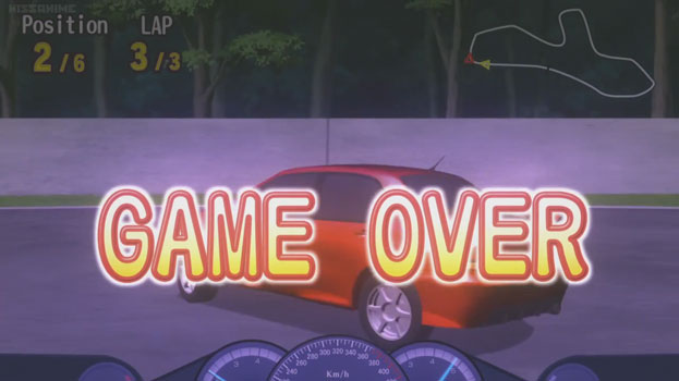 A game over screen. The game being played was a racing game. The player was in second place in the final lap.
