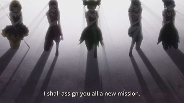 "Silhouettes of five girls. Text: ""I shall assign you a new mission."""