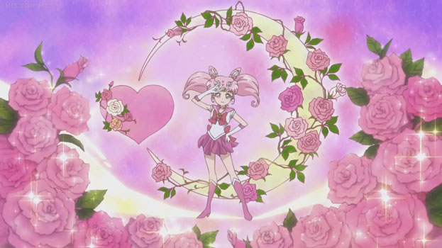 Chibi-Moon's pose at the end of her transforation. Stylied with a crescent moon, pink roses and pink hearts.