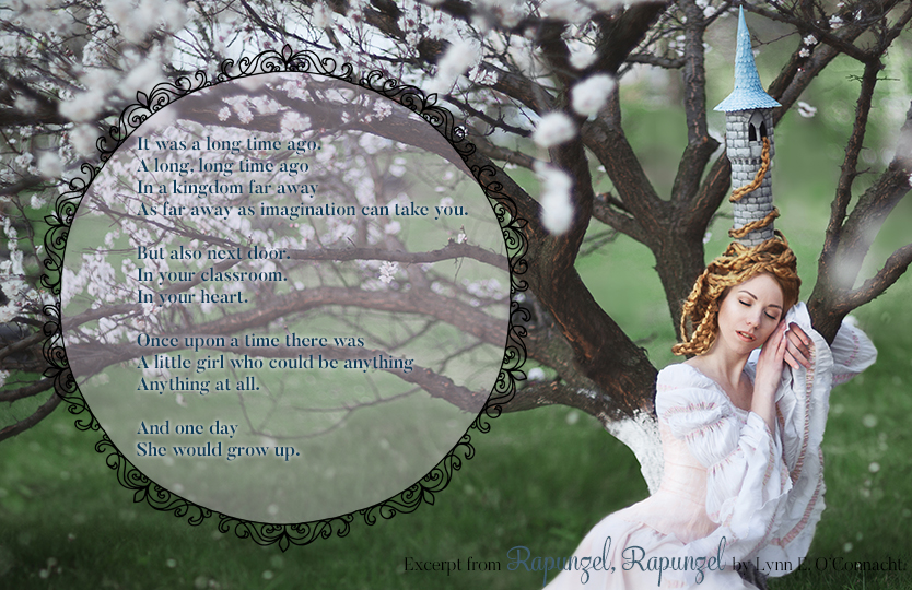 Rapunzel, Rapunzel Teaser #5. A girl with long hair and a tower-shaped hat sleeping against a tree in bloom.