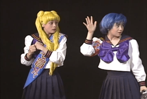 Usagi and Ami from Sera Myu Sailor Stars: Usagi is looking terrified and Ami looks shocked.