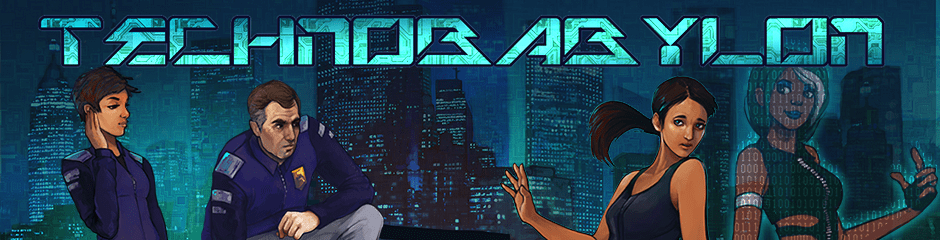 Technobabylon Banner, featuring Max Lao, Charles Regis and Latha Sesame/Mandala with the skyline of Newton in the background.