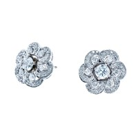 New 14k White Gold 0.90 CTW Diamond Earrings & Jackets