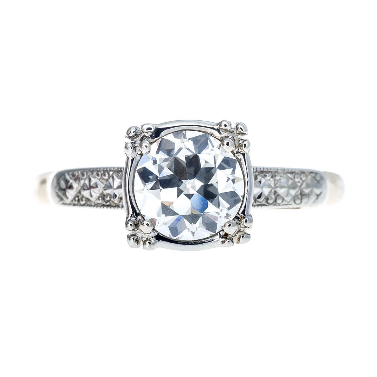 Vintage 0.95 CT Old European Cut Diamond Engagement Ring