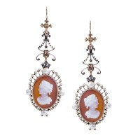 Antique Victorian Cameo & Pearl Dangle Earrings