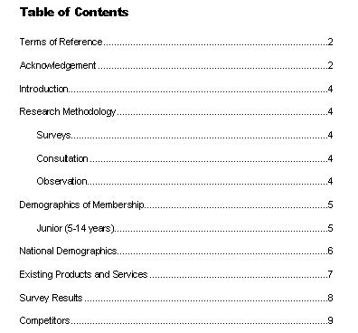 Business Document Writing Inserting A Table Of Contents
