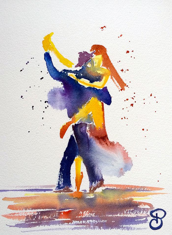 Tango, aquarelle, Pauline
