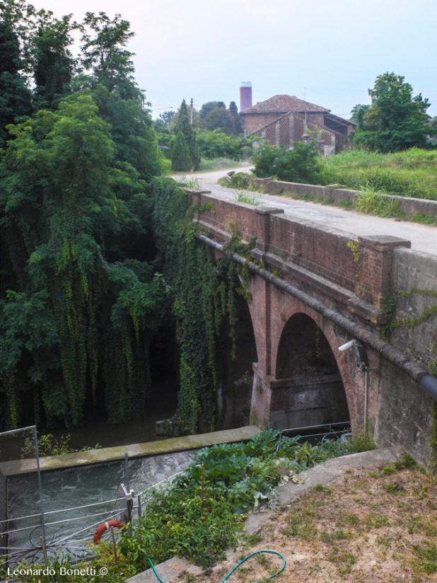 Un tratto nel canale della Muzza dove l'acqua scorre su due livelli