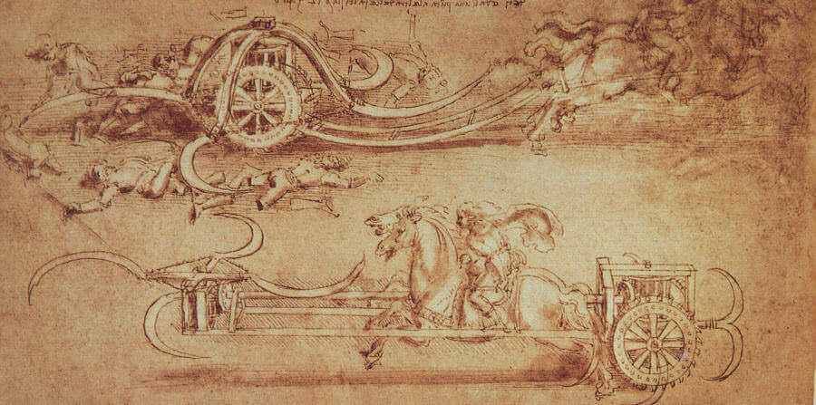 Leonardo da Vinci invokes Michael Behe and imagines his own scythed chariot with rotating blades for extra gore!  Courtesy of LeonardoDaVinci.net