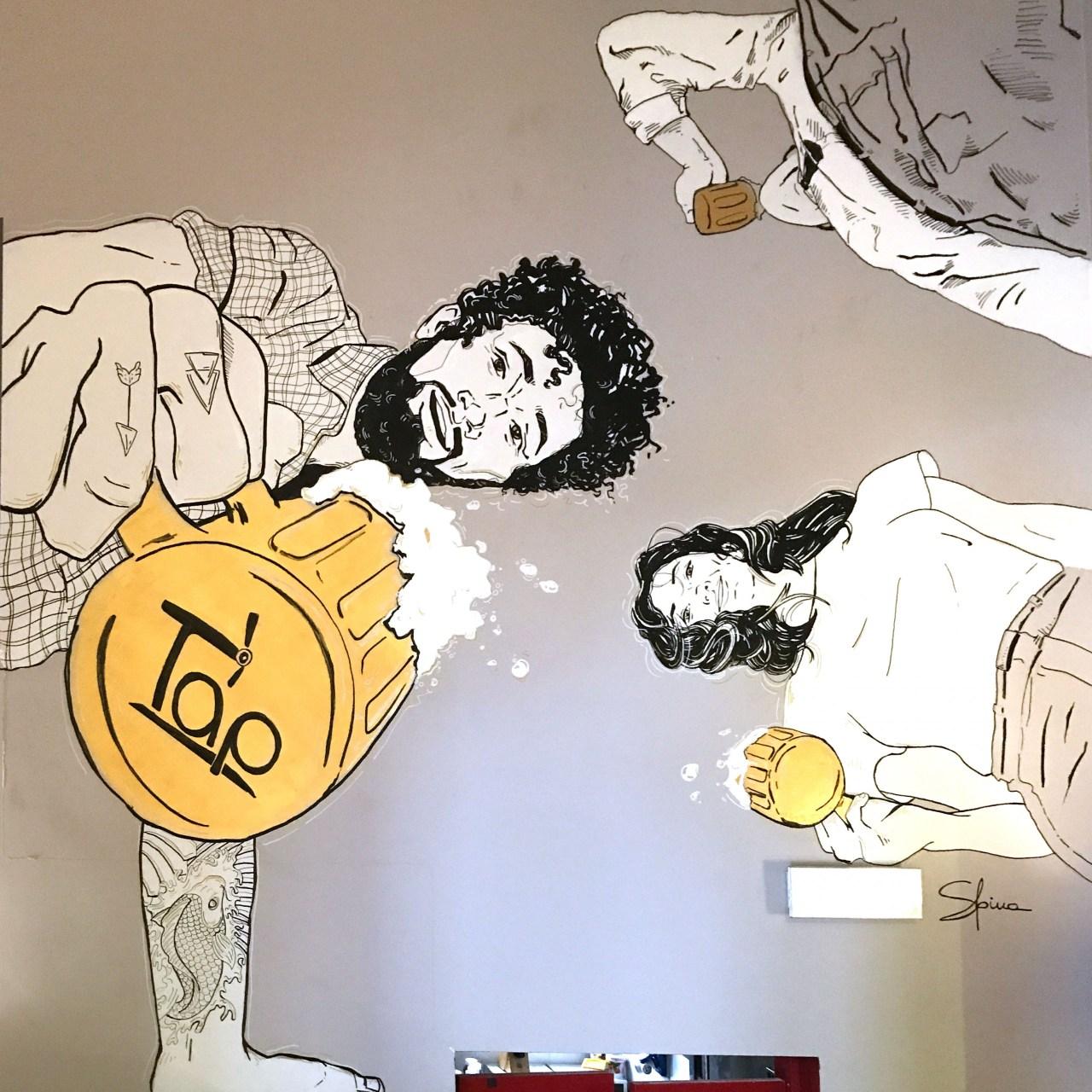 Illustrazione di 3 persone che bevono la birra viste dal basso.