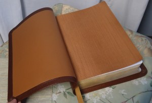 Tobacco Lambskin with Cinnamon Iridescent Book Cloth