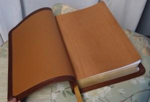 Tobacco Lambskin with Cinnamon Iridescent Book Cloth
