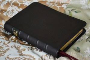 Small Bible rebound in black soft-tanned goatskin