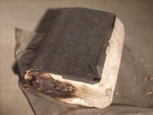 This Bible survived a house fire, but was badly singed.