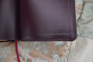 We construct the cover with the end page glued over the raw edge of the leather, a cleaner look.