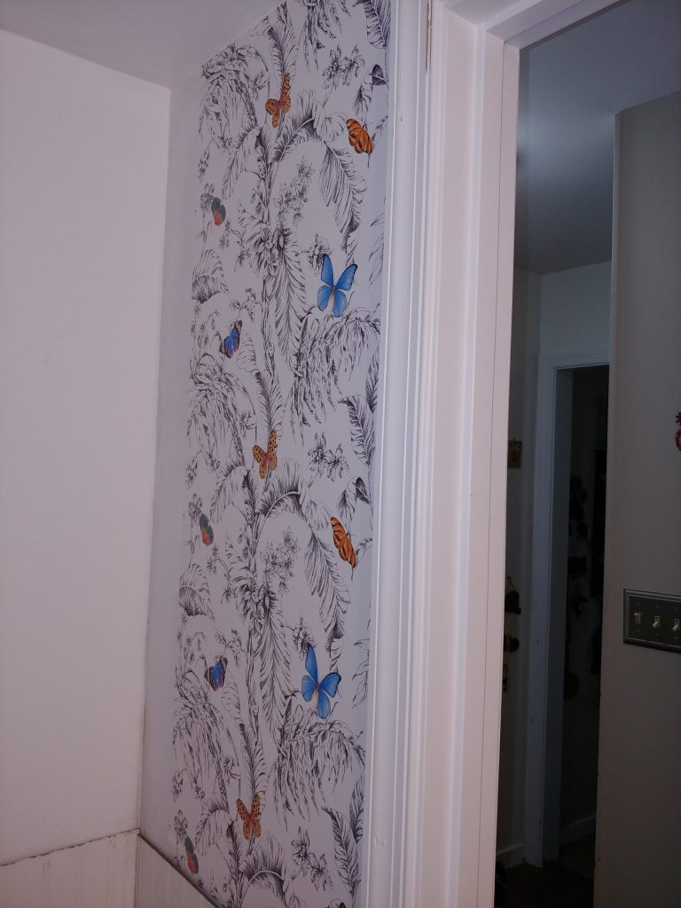 Picture of butterfly patterned wallpaper