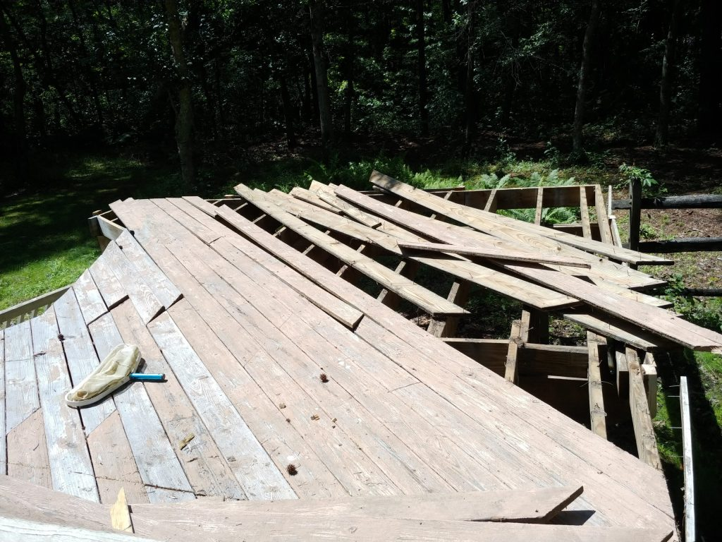 Picture of a partially disassembled deck.