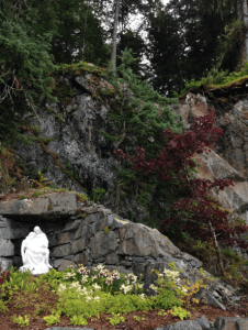 The pieta, nestled in quite a stunning garden near the Shrine of St Therese at Juneau.