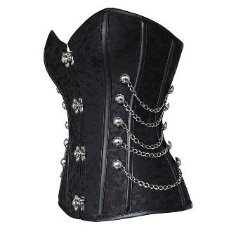 black steampunk corset chains steel boned australia