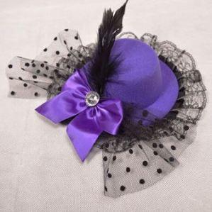 Purple Burlesque Mini Top Hat