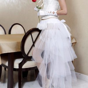 Long White Tulle Burlesque High Low Bustle Over Skirt