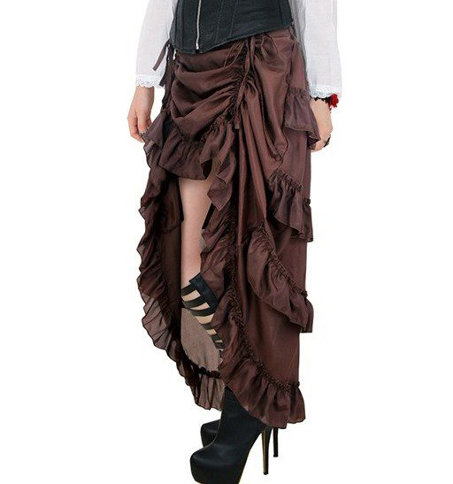 Brown Victorian Steampunk Burlesque Hi Low Skirt