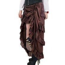 Brown Victorian Steampunk Burlesque Hi Low Skirt