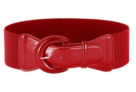 Red PU Elastic Stretch Cinch Belt for Corset Retro Rockabilly
