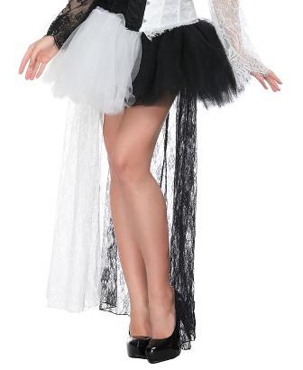 Black and White Harlequin Jester High Low Skirt