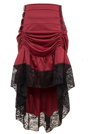 Burgundy Red Victorian Burlesque Steampunk High Low Skirt Lace Trim
