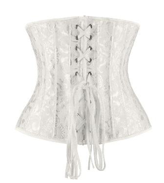 White Jacquard Bridal Victorian Underbust Corset