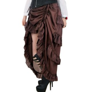 Plus Size Brown Victorian Steampunk Burlesque Hi Low Skirt